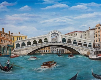"Rialto Bridge on Grand Canal in Venice, 12 x 16"" Fine Art Reproduction Museum-Quality Print (Giclee) of Original Painting"