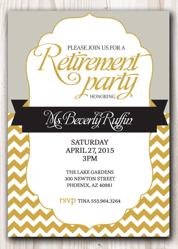 Retirement party invitation gold and silver or pick any color like this item stopboris Gallery