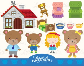 Goldilock and three bears clipart set/ digital download 14017