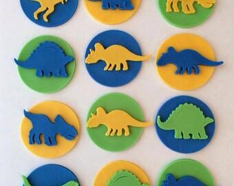 1 Dozen Fondant Dinosaur Cupcake Toppers