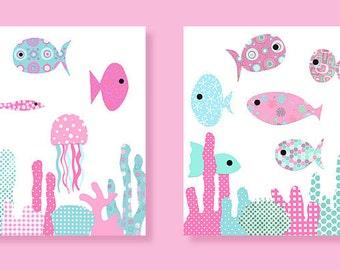Fish Nursery Art, Fish Wall Art, Nursery Wall Art, Nautical Nursery Decor, Ocean Nursery, Girls Fish Decor, Baby Girl Room Decor, Fish Art
