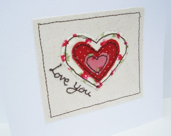 Valentine's Day Card - Embroidered Heart - Handmade Greeting Card - Wedding Anniversary - Valentines - Husband, Wife, Girlfriend, boyfriend