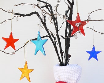 Unique Handcrafted Fused Glass Star / Fused Glass Suncatcher / Christmas Decoration
