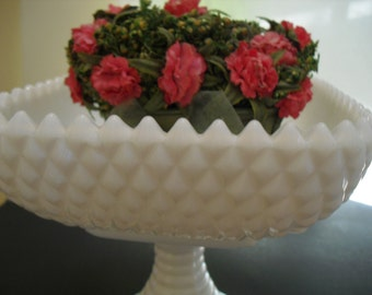 Milk Glass Diamond Compote Pedestal Vase