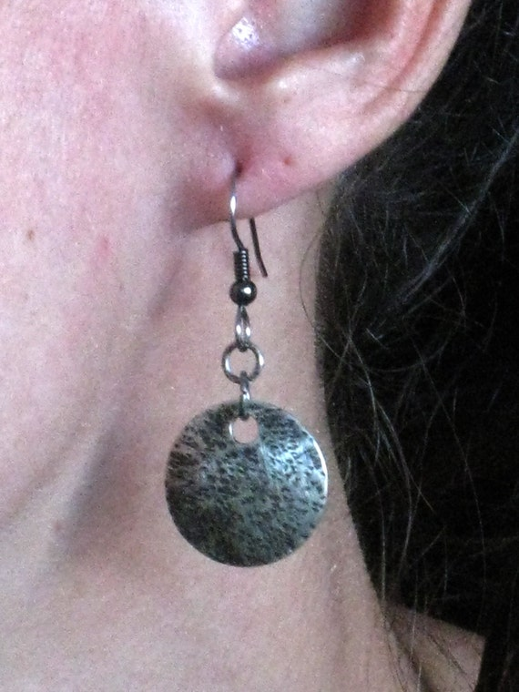 Sterling silver disc earrings - One of a kind - Handmade original piece