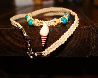 Woven Hemp Seashell Necklace