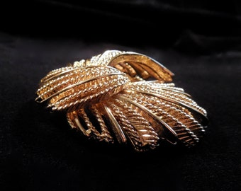 Sale!Monet Brooch, Gold Tone Pinwheel, alternating twisting metal and straight add texture and movement