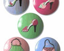Hand Painted Girls Fancy Shoe and Purse Drawer Knobs Nursery Cabinet Pulls