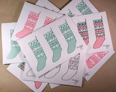 SALE - 15% off -  10 x Christmas Stocking Cards - 4 Colour Combinations Included - Original Design - Laser Printed