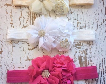 Hot Pink Headband, Crown Headband, Newborn Headband, Couture Headband, Ivory Headband,  White Headband, Princess Headband