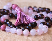 108 Mala Beads, Meditation Necklace, Yoga Mala Jewelry For Stress Relief & Love, Smoky and Rose  Quartz, Healing