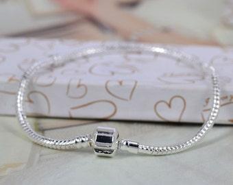 5pcs - Silver plated European Style Bracelet, Snap Clasp Snake Chain bracelet, Fit European Beads charms