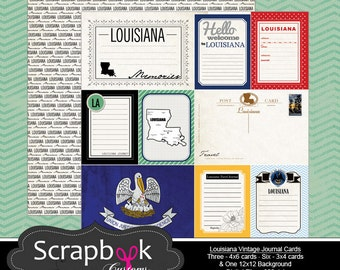 Louisiana Vintage Journal Cards. Digital Scrapbooking. Project Life. Instant Download.