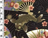 Koi (Carp) and Artful Fans -  Black Asian Japanese Fabric (Per 1/2 Yd)