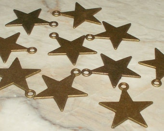 5 Antiqued Bronze Star Charms