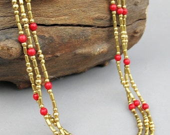 4mm Red Coral Beaded Multi Strand Necklace with Brass Bead