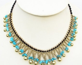 Blue Turquoise Wave Water Foam Cascade Necklace