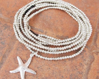 Three Strands Silver Color Bead Necklace with Starfish Charm