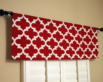 Window Curtain-Red Valance-Kitchen Window Valance-50x16 Valance-Window Treatments V