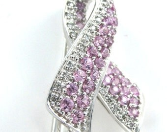 14kt Solid White Gold  Diamond Breast Cancer Awareness Pin Brooch