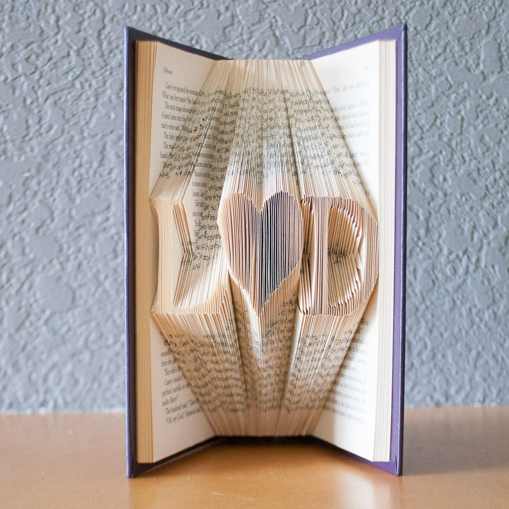Wedding Gifts For Art Lovers : Wedding Gift-Folded Book Art- Book Lover-Home Decor-Initials