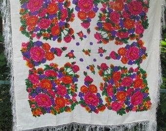Unused Vintage Extra large Wool Shawl with Floral Pattern, Russian Babushka Scarf, USSR Folk Scarfs, Headscarf Boho Gypsy Hippie Shawl