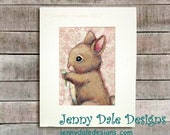 Bunny and Clover: Vintage Inspired, Woodland Themed, hand signed art print with pink background - JennyDaleDesigns