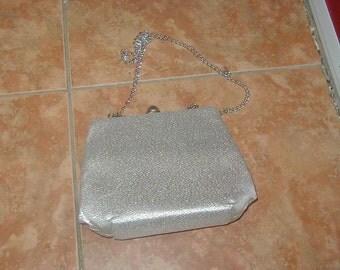 Vintage silver metallic evening handbag, purse.