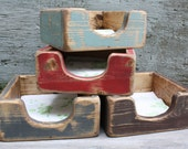 Distressed Napkin Holder Primitive Rustic Painted Kitchen Table Wood Box