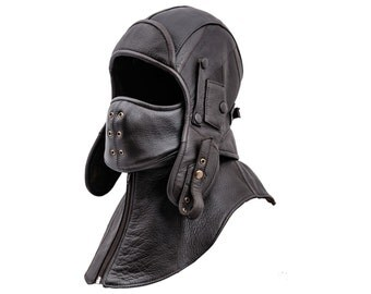 Genuine Leather Aviator / Bomber Cap with detachable collar and mask, polar fleece or cotton lining - dark brown