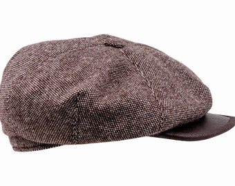 Large 4 Panels Flat Cap made of Tweed with Leather Bill - brown