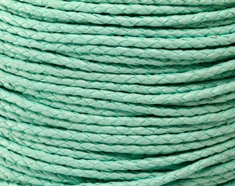 3MM MINT GREEN Round Braided Bolo Leather Cord - By The Yard - 1 Yard, 5 Yards, 10 Yards
