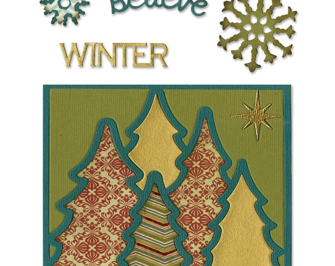 New! Sizzix Thinlits Die Set 6PK - Card Front, Winter by Rachael Bright 659589
