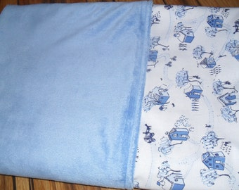 Reduced for sale. Cotton/minky baby blanket.