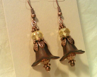 Chocolate Brown Lucite Flower Copper Earrings with Champagne Crystals