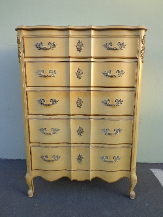 French Provincial Dresser Tall Boy Highboy Chest Of Drawers