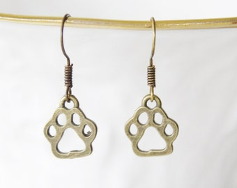 Pawprint Earrings * Dog Earrrings * Dog Paw Earrings * Paw Print Earrings * Paw Jewelry * Dog Jewelry * Brass Earrings * Paw Skeleton