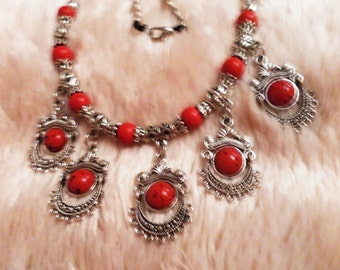 christmas party belly dance steampunk punk victorian style vintage jewelled silver metal necklace