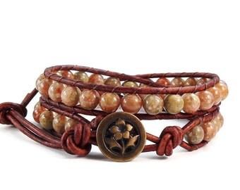 Leather Wrap Bracelet Autumn Jasper Gemstones Petunia Button Beaded Double Wrap Boho