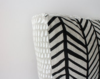 Herringbone Black/ Brushstroke White 45cm x 45cm box cushion - Hand screen printed