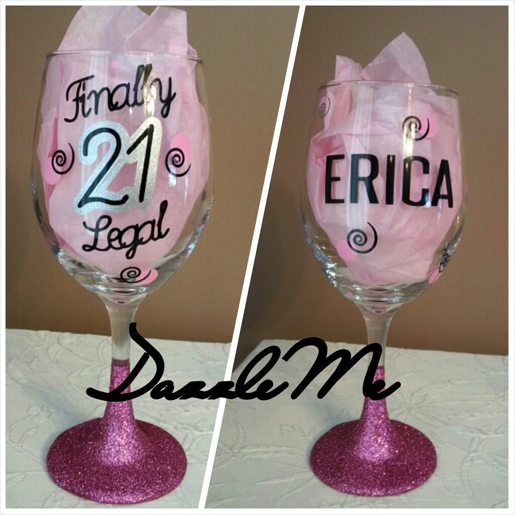 Unique 21st Birthday Gift Finally Legal Oversized Glittered