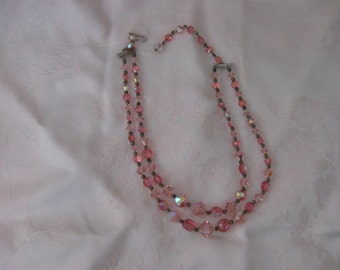 Double Strand Clear Pink Aurora Borealis Vintage Necklace, Beautiful!