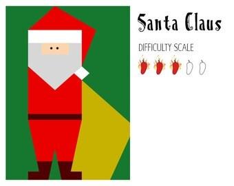 Santa Claus paper pieced quilt pattern in PDF