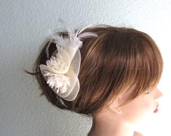 Ivory Wedding Head Piece  Fascinator  Wedding Accessory Feathers Bridal Accessory
