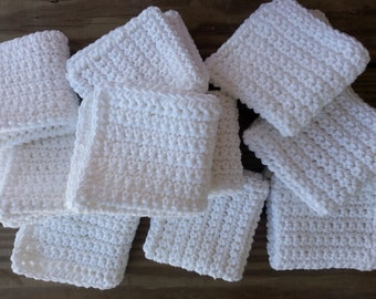 Crochet Wash cloth Set of 50 cleaning cloths, cleaning rags,  face cloth crochet washcloth