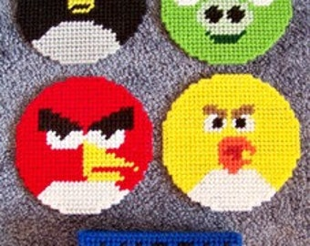 Angry Birds Inspired Plastic Canvas Coaster Set Pattern