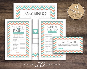 Instant Download Teal Coral Chevron Baby Shower Games Pack, Printable Bingo Cards, Price Is Right, Wishes for Baby, Diaper Raffle #60B