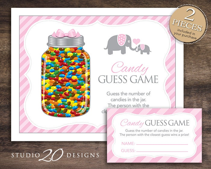 Instant Download Pink Elephant Candy Guessing Game Baby