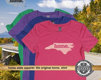 North Carolina Home. tshirt- Womens Red Green Royal Pink Purple