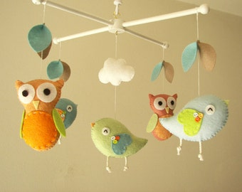 "Baby crib mobile, Bird mobile, Owl mobile, felt mobile, nursery mobile, baby mobile""Night Friends orange and aqua"""